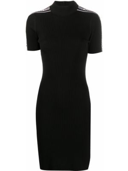 Черное прямое приталенное вязаное платье Michael Michael Kors