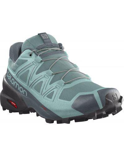 Зеленые кожаные кроссовки на шнурках Salomon