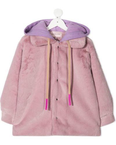 Розовая длинная шуба из искусственного меха с капюшоном Natasha Zinko Kids