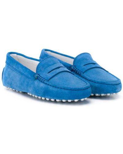 Синие кожаные мокасины на плоской подошве без застежки Tod's Kids
