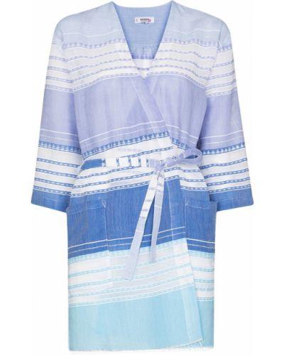 Niebieska sukienka mini bawełniana Lemlem