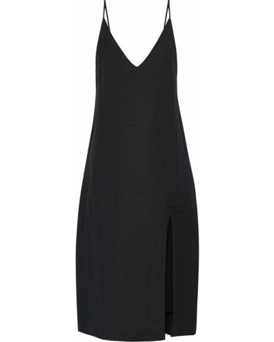 Льняное платье миди - черное Seafolly