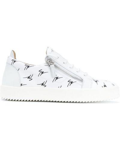 Белые кроссовки на молнии Giuseppe Zanotti Design
