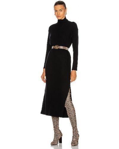 Шелковое вязаное черное платье-футляр Enza Costa