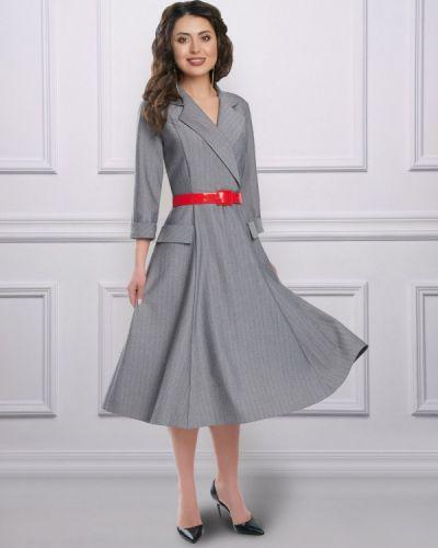 Платье с поясом серое платье-сарафан Charutti