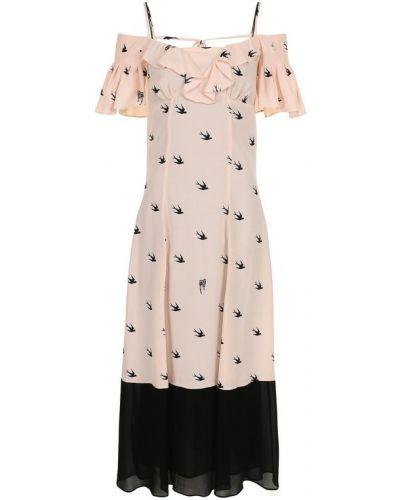 Платье миди с открытыми плечами на бретелях с оборками Mcq