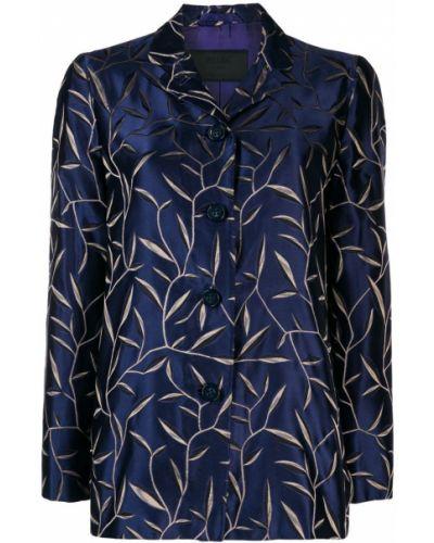 Однобортный синий удлиненный пиджак на пуговицах Prada Pre-owned