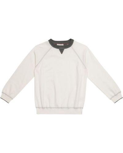Biały sweter bawełniany Brunello Cucinelli Kids