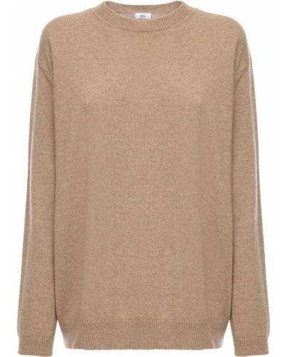 Кашемировый коричневый свитер с воротником с манжетами Ag