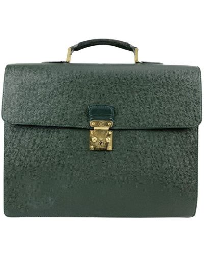 Zielona teczka skórzana elegancka Louis Vuitton Vintage