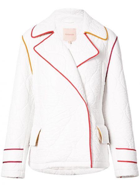 Белая стеганая куртка из вискозы Roksanda
