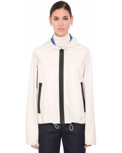 Белая кожаная куртка на молнии Bottega Veneta