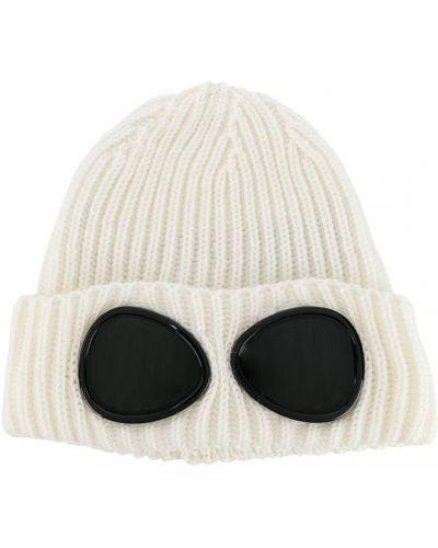 Шерстяная белая шапка бини в рубчик с отворотом Cp Company Kids