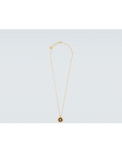 Спортивная подвеска металлическая круглая золотая Versace