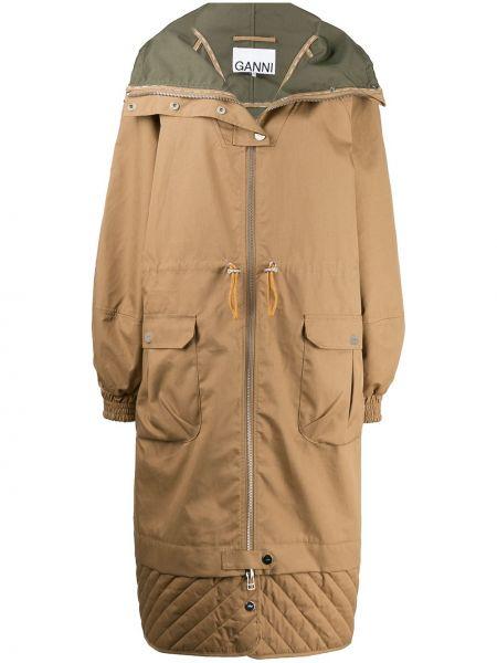 Длинное пальто с поясом Ganni