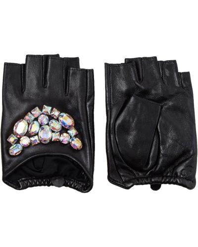 Митенки кожаные черный Karl Lagerfeld