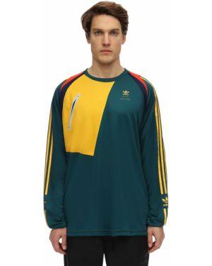 Zielony t-shirt w paski Adidas Originals Statement