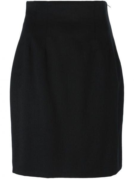 Плиссированная черная юбка мини винтажная Kenzo Pre-owned