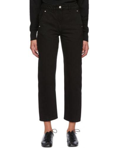 Czarny jeansy na wysokości z kieszeniami Lemaire