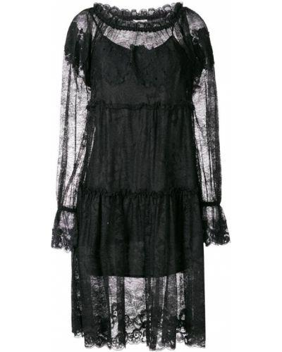 Платье миди ажурное черное Gold Hawk