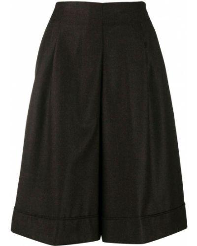 Z wysokim stanem klasyczny wełniany czarny spodnie culotte Stefano Mortari