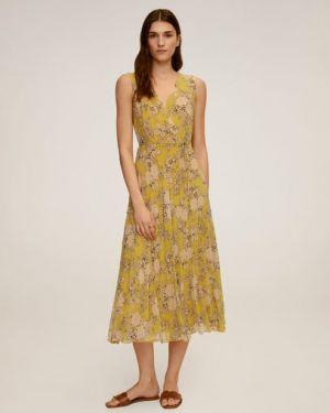 Платье с поясом с цветочным принтом плиссированное Mango