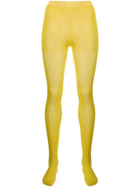 Prążkowane żółte rajstopy bawełniane Prada
