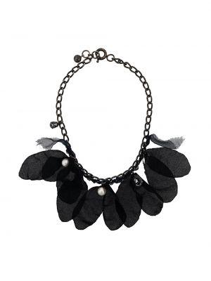 Czarny naszyjnik perły z jedwabiu Lanvin