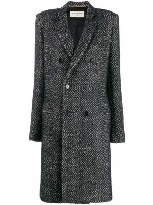 Шерстяное белое пальто с капюшоном Saint Laurent
