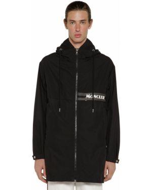 Czarna kurtka z kapturem w paski Moncler