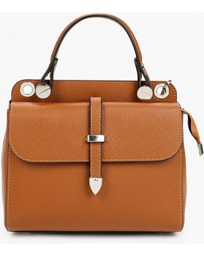 Коричневая сумка из натуральной кожи Carla Ferreri