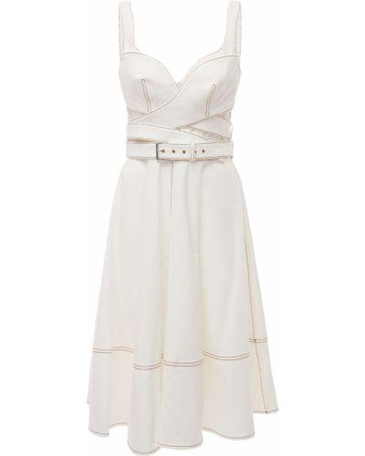 Белое платье на молнии до середины колена Alexander Mcqueen