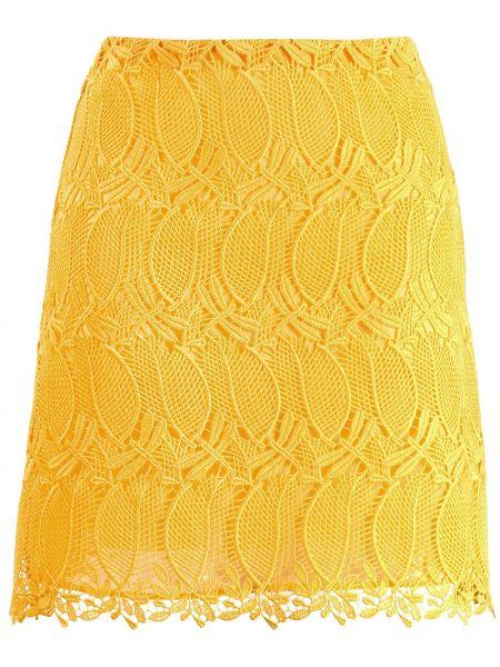 Żółta spódnica mini koronkowa sznurowana Giamba