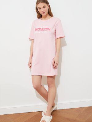 Różowa koszula nocna bawełniana Trendyol