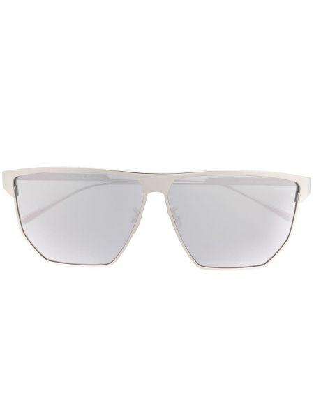 Серебряные солнцезащитные очки квадратные металлические Bottega Veneta Eyewear