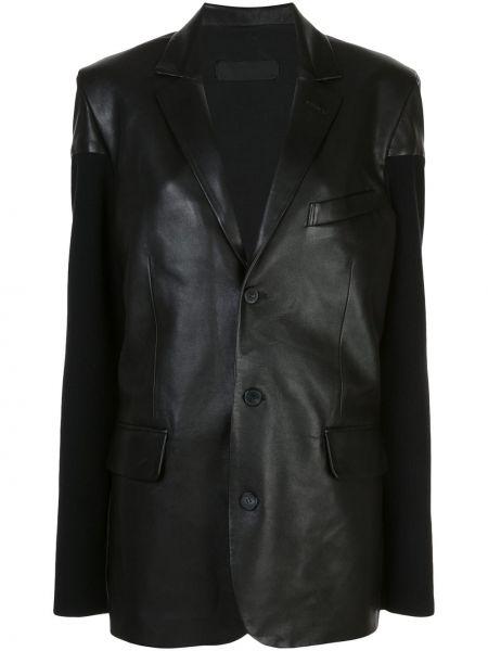 Кожаный черный удлиненный пиджак с подкладкой Haider Ackermann