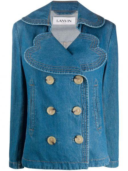Синяя джинсовая куртка оверсайз с воротником Lanvin