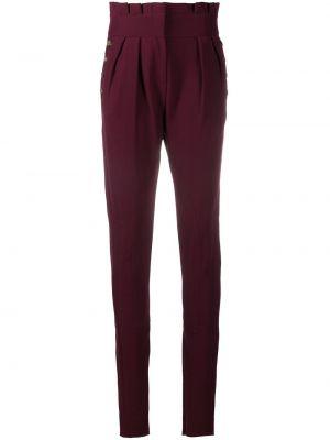 Czerwone spodnie wełniane zapinane na guziki Christian Dior