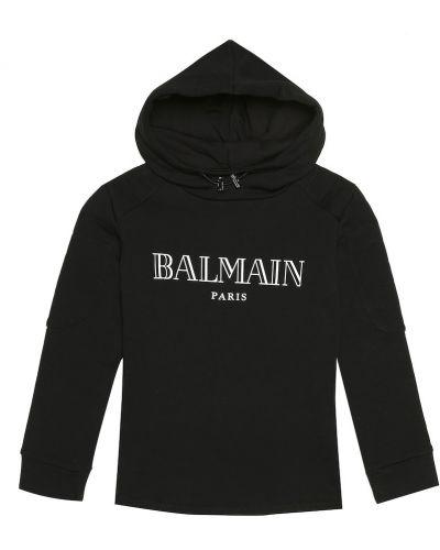 Miękki bawełna bawełna czarny bluza z kapturem Balmain Kids