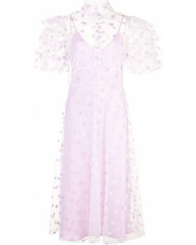 Фиолетовое приталенное расклешенное платье миди из фатина Jill Stuart
