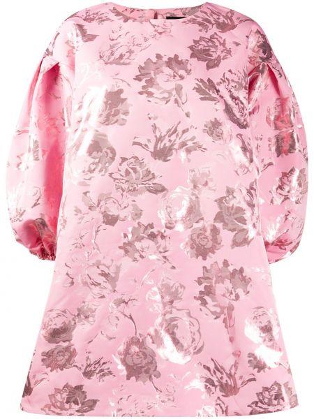Розовое прямое платье мини с рисунком металлическое Stine Goya