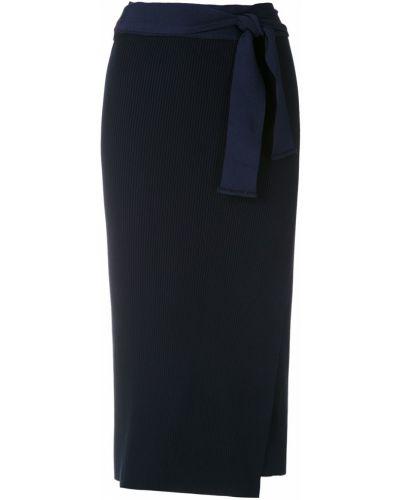 Синяя юбка миди с запахом в рубчик Magrella