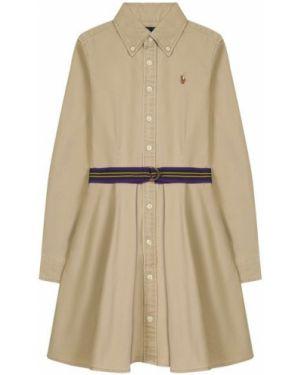 Бежевое платье с рукавами с поясом с вышивкой с длинными рукавами Polo Ralph Lauren