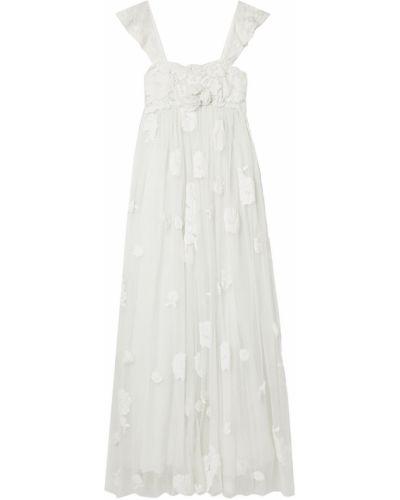 Biała sukienka na imprezę koronkowa tiulowa Loveshackfancy