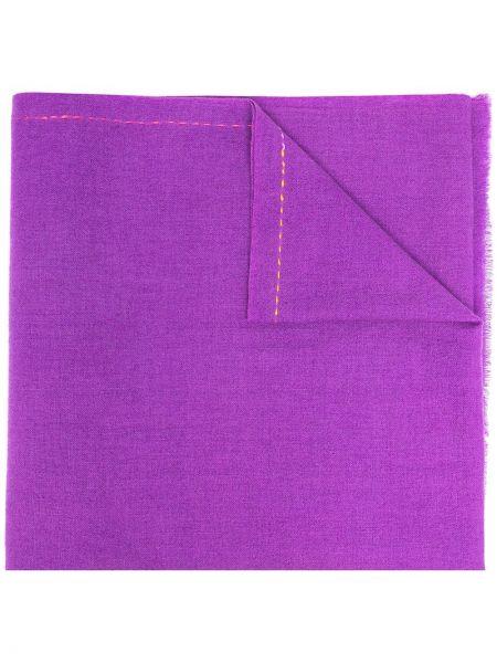 Fioletowy szalik wełniany z haftem Paul Smith