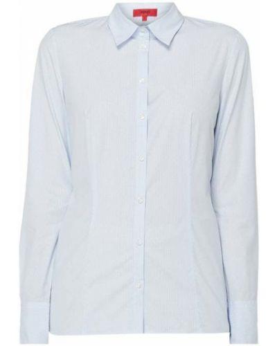 Niebieski bluzka z długim rękawem z kołnierzem na przyciskach na paskach Hugo