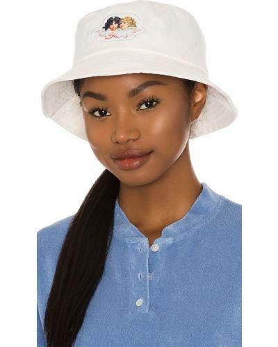 Biały kapelusz bawełniany pikowany Fiorucci
