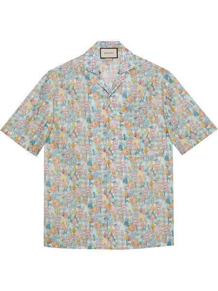 Niebieski bawełna z rękawami koszula z kołnierzem Gucci