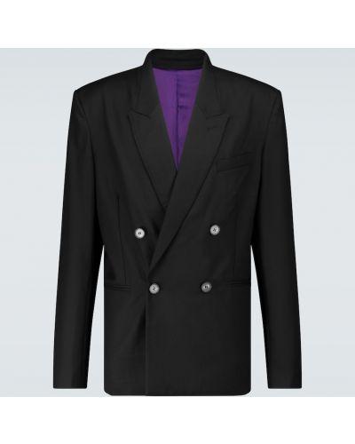 Шерстяной черный пиджак двубортный Winnie