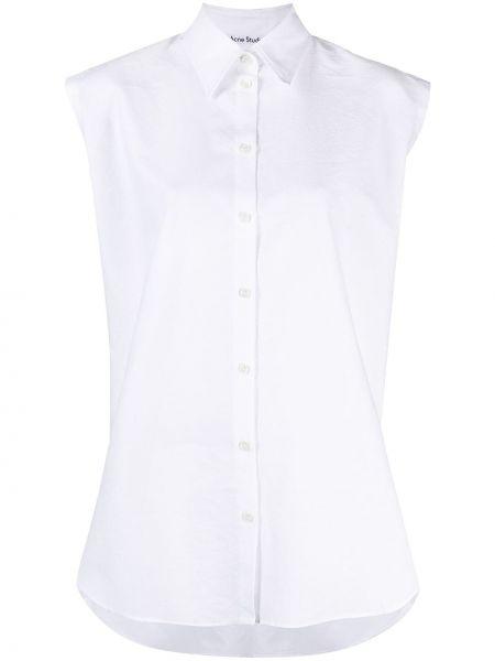 Хлопковая с рукавами белая классическая рубашка Acne Studios
